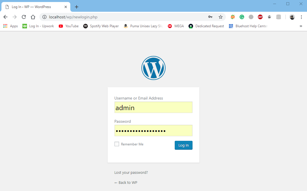 changed WordPress URL login