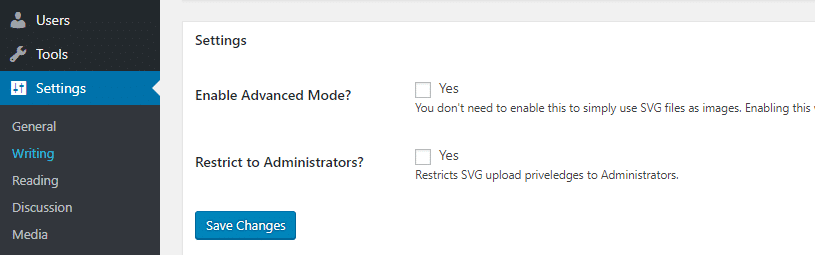 svg support settings