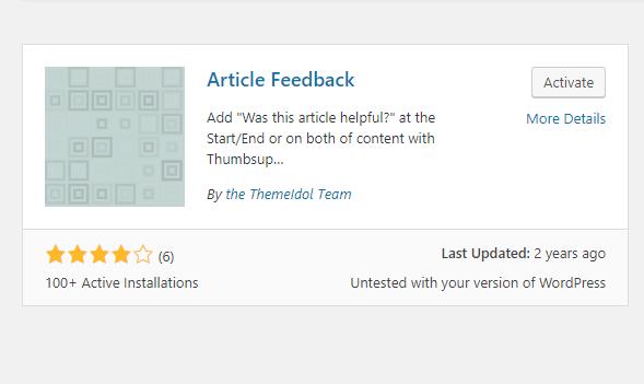 article feedback wordpress