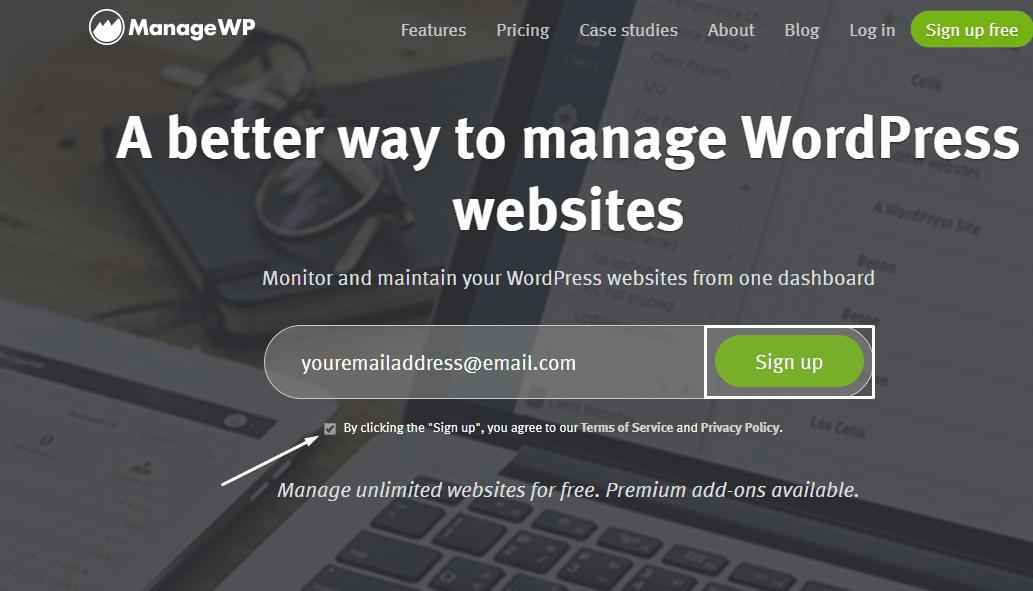 ManageWP sign up process