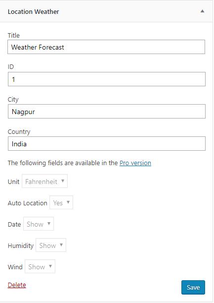 Location weather widget
