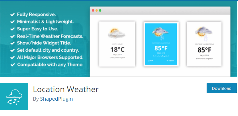 Location weather plugin wordpress