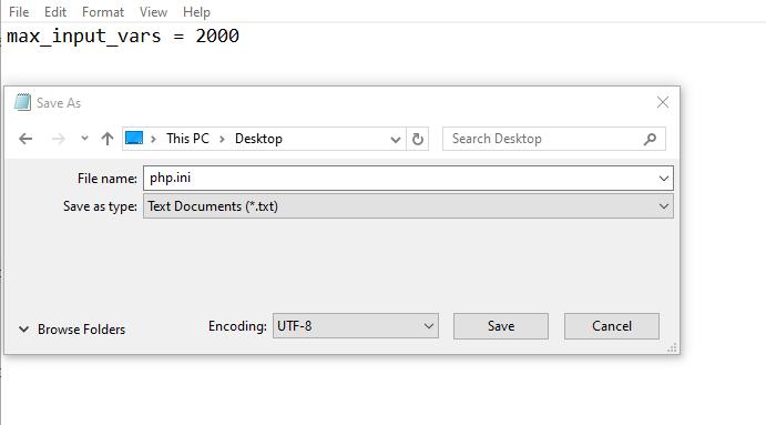 Increase max input vars using php.ini file