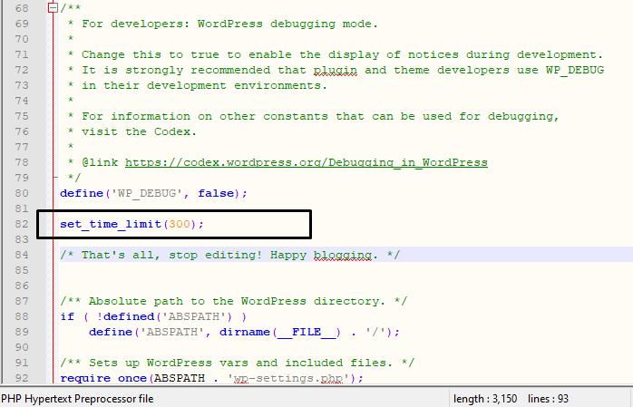 Increase the max input vars using wp-config