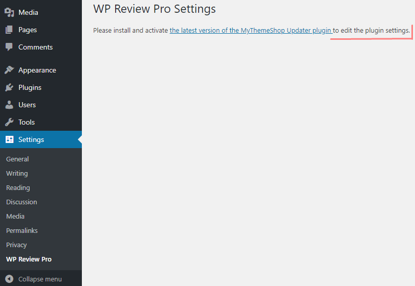 wp review pro settings