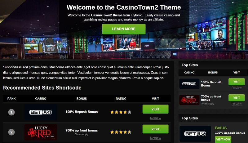 Casinotown - casino affiliate themes