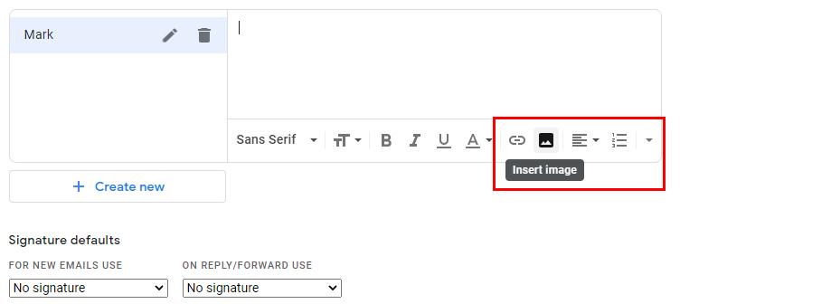 Add image to signature option