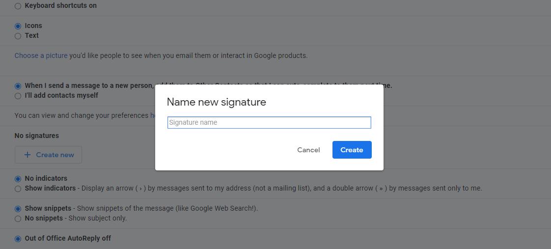 Create new signature tab