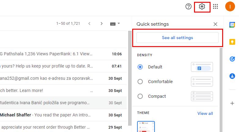 Gmail settings tab