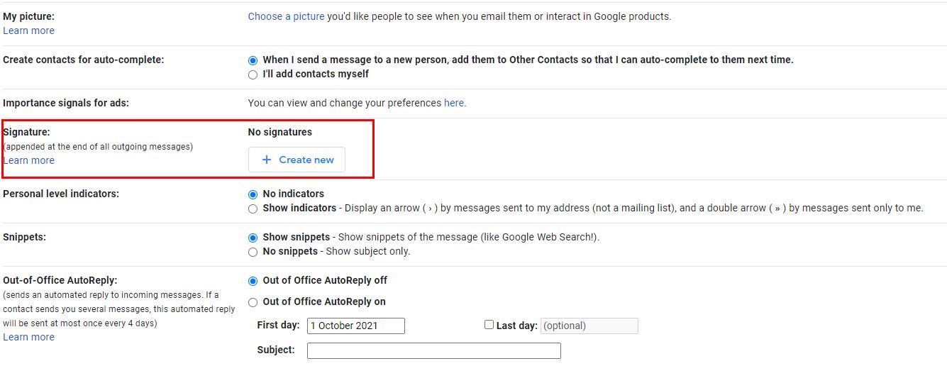 Gmail signature settings