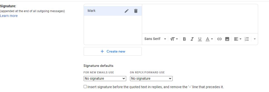 Signature information tab